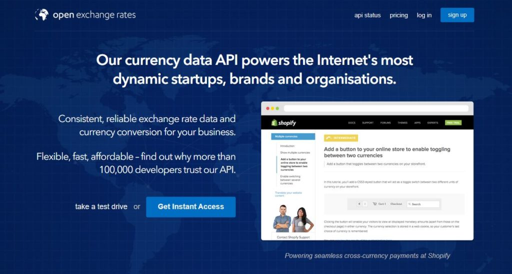 Exchange rate API provider