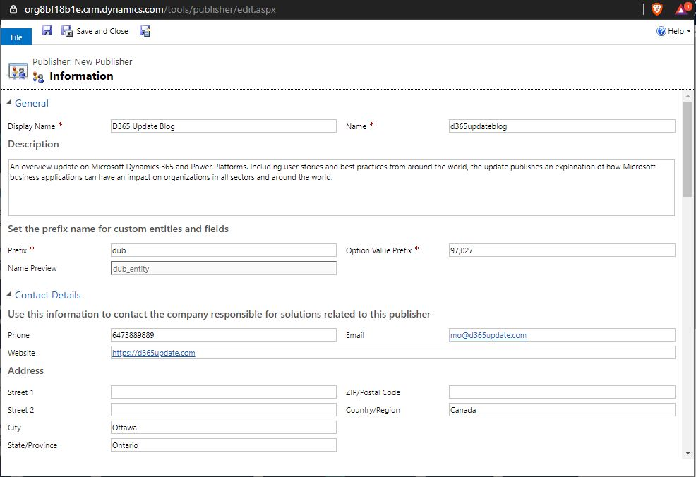 Publisher create form is the same in Dataserve and Classic interfaces.