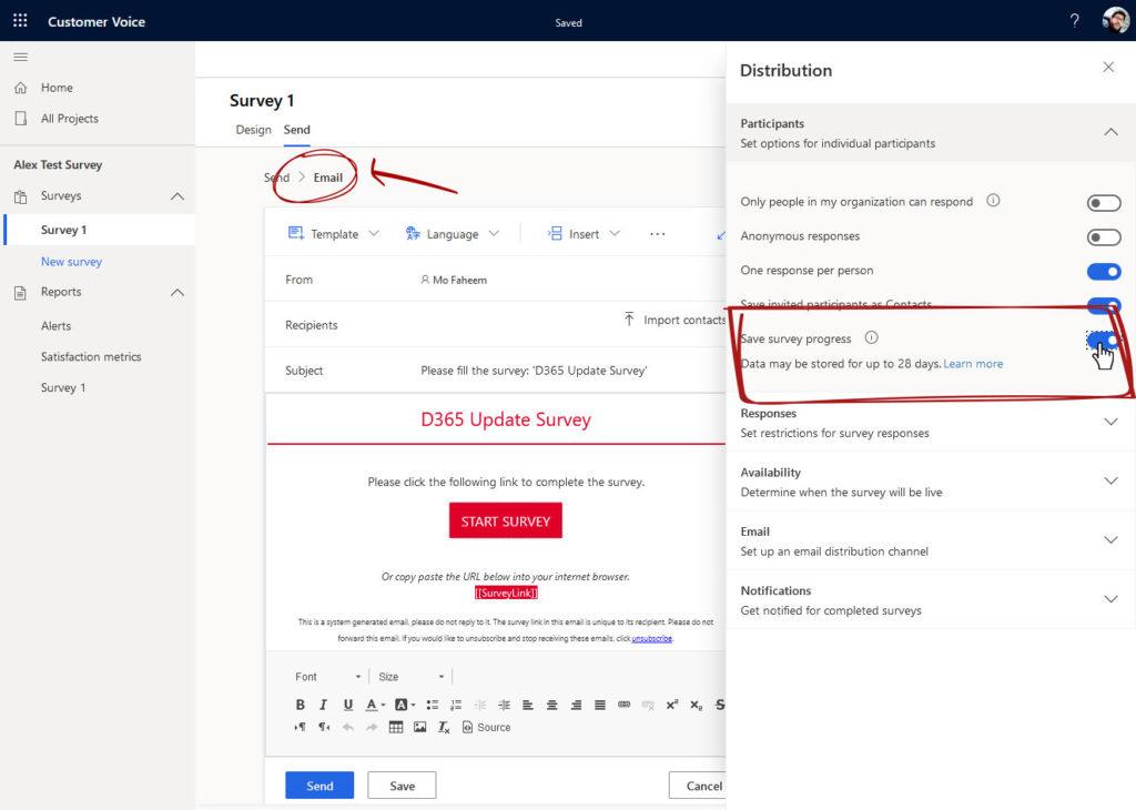 Save survey progress toggle