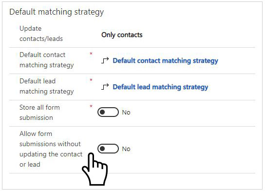Allow form submissions without updating the contact or lead