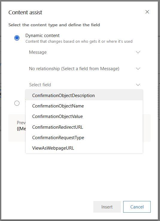 content assist - message