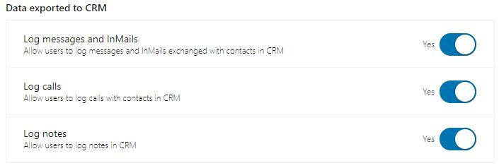 Data exported to CRM
