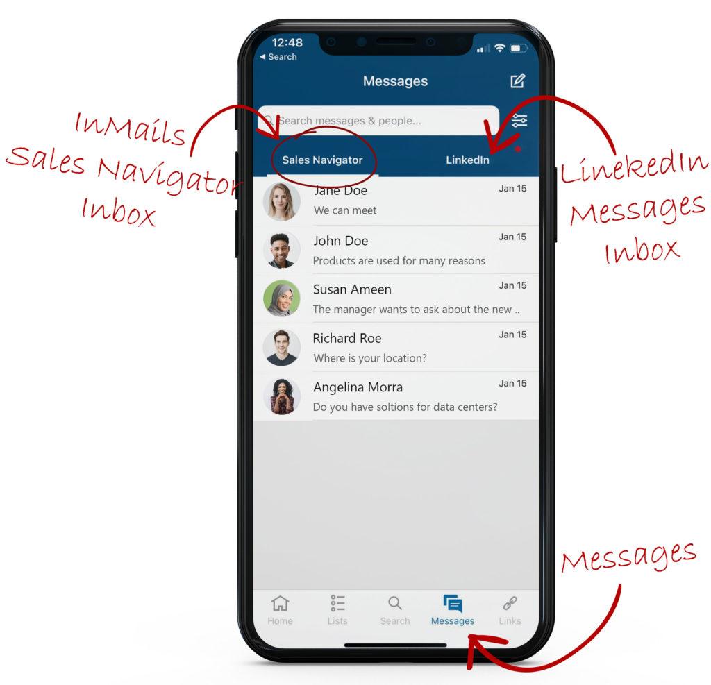 Sales Navigator Mobile messages