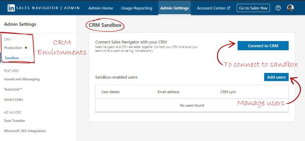 Configure Sales Navigator with CRM Sandbox
