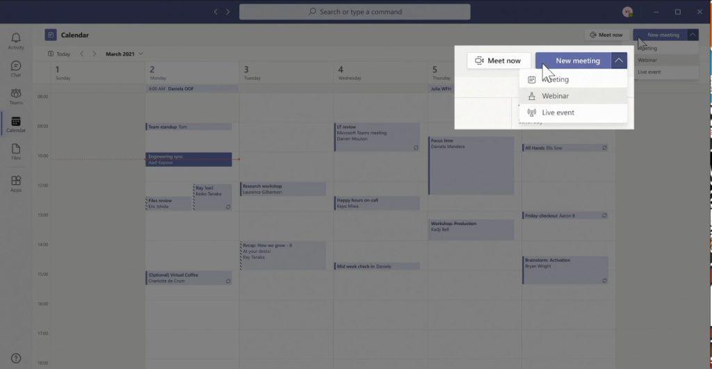 create webinar from Teams