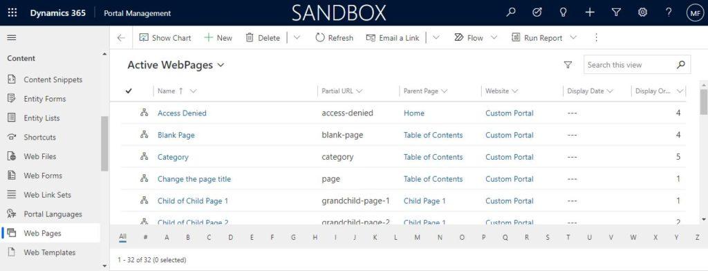 Portal Management - Web Pages