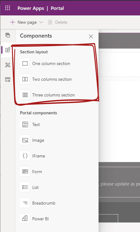 Power Apps portal Editor - Power Apps portal section Layout