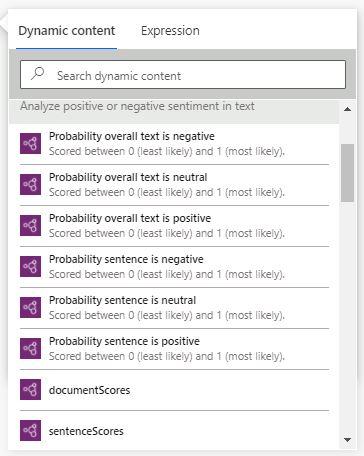 AI Builder sentiment analysis in Power Automate dynamic content - Sentences