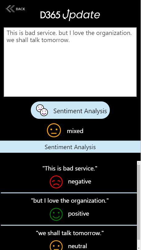 AI Builder Sentiment analysis canvas app