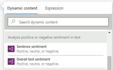 AI Builder sentiment analysis in Power Automate dynamic content - Overall
