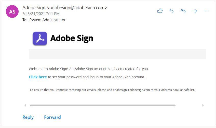 Adobe Sign validation email