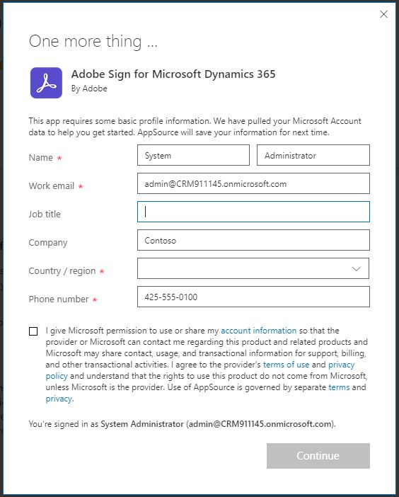 Adobe Sign for Microsoft Dynamics 365 trial