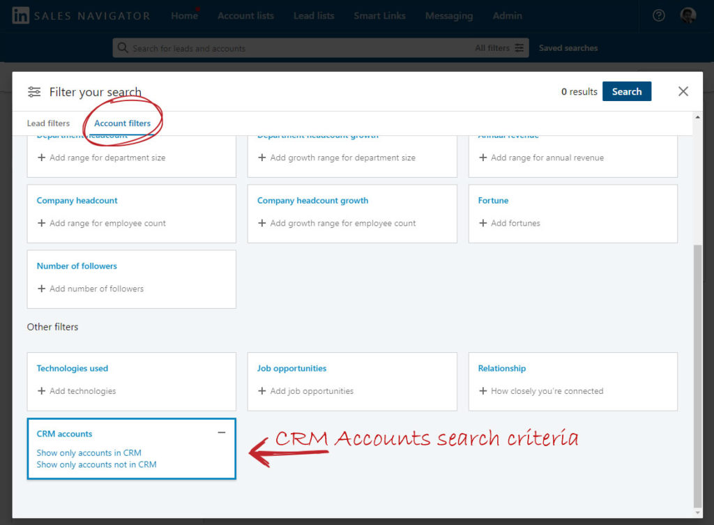 LinkedIn Sales Navigator search with CRM accounts