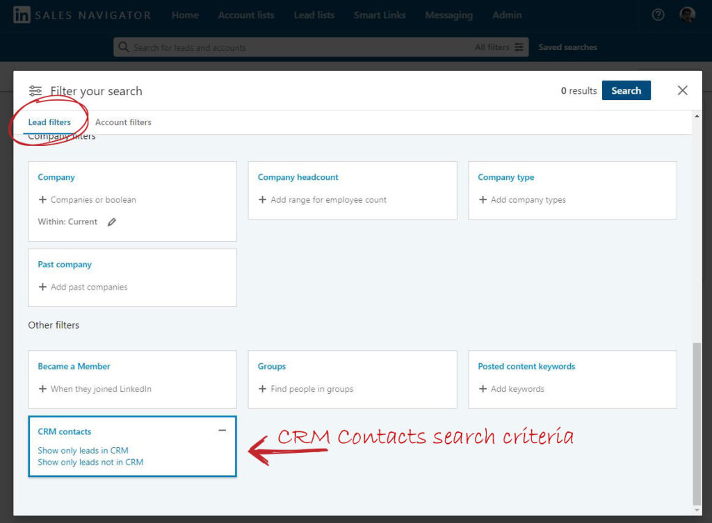 LinkedIn Sales Navigator search with CRM contacts