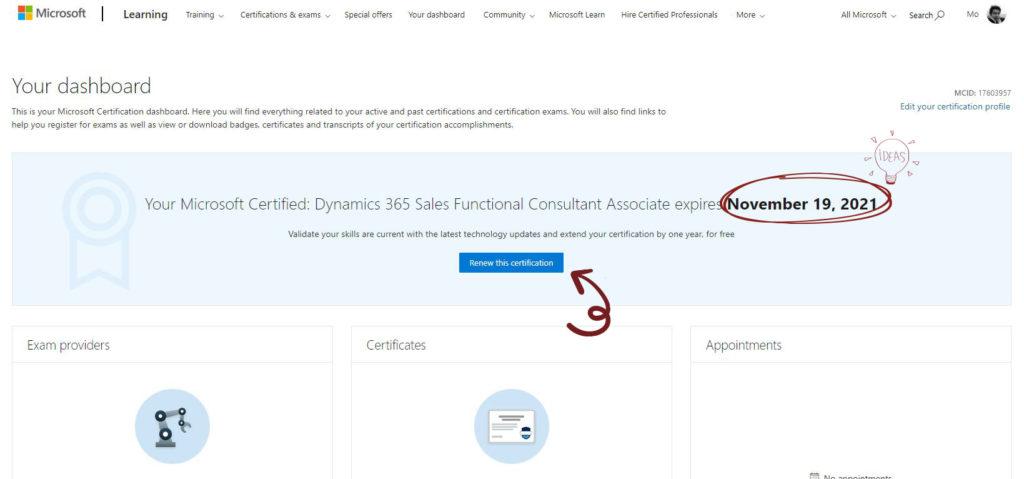 Microsoft Certification dashboard - renew Microsoft certificate notification