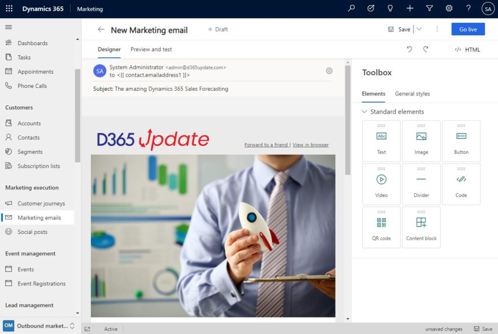 new Dynamics 365 marketing email editor