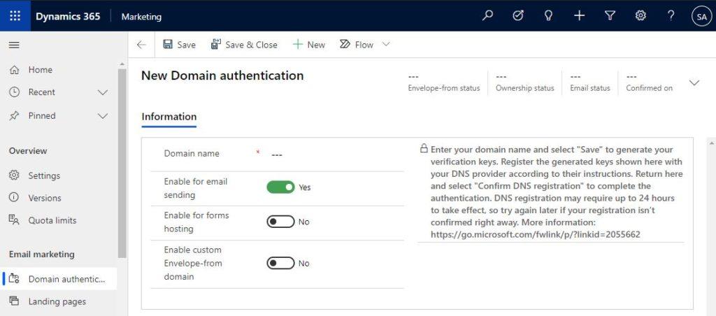 Dynamics 365 Marketing domain authentication