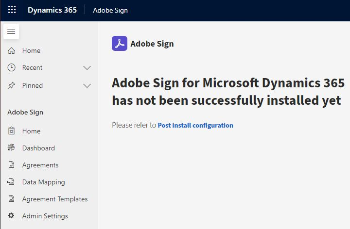 Complete Adobe Sign installation