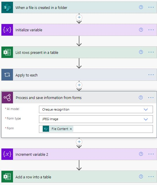 Form processing AI Builder in Power Automate flow