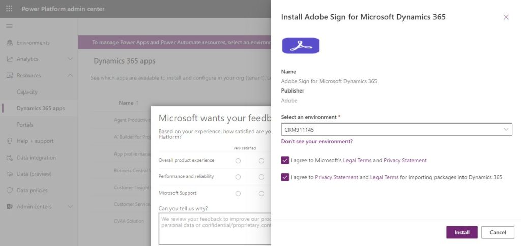 Install Adobe Sign for Microsoft Dynamics 365 in a selected envionment
