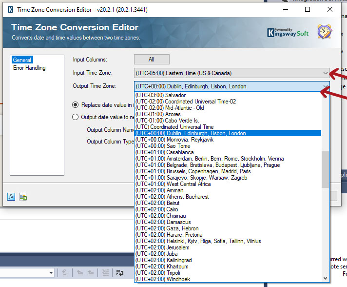 Time zone conversion integration editor
