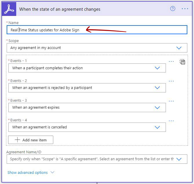 Adobe Sign trigger Power Automate - When the state of an agreement changes