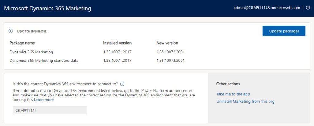 Update Dynamics 365 Marketing version