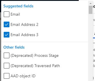 Other recipient fields, more than one field can be selected.