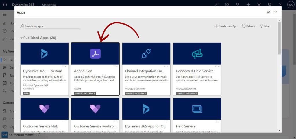 Adobe Sign App for Dynamics 365
