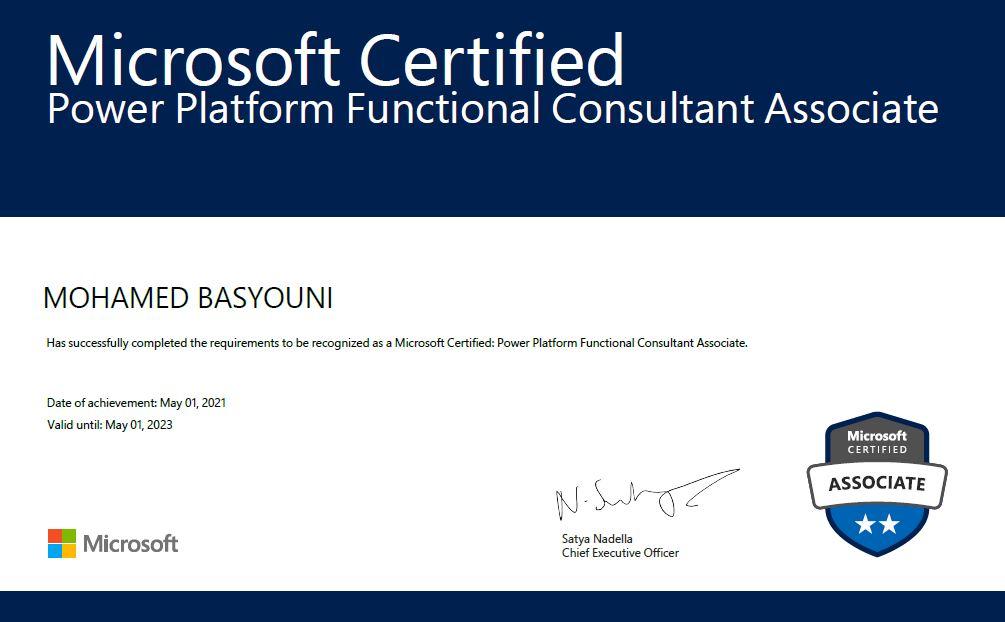 exam PL-200 - Microsoft Certified: Power Platform Functional Consultant Associate certificate