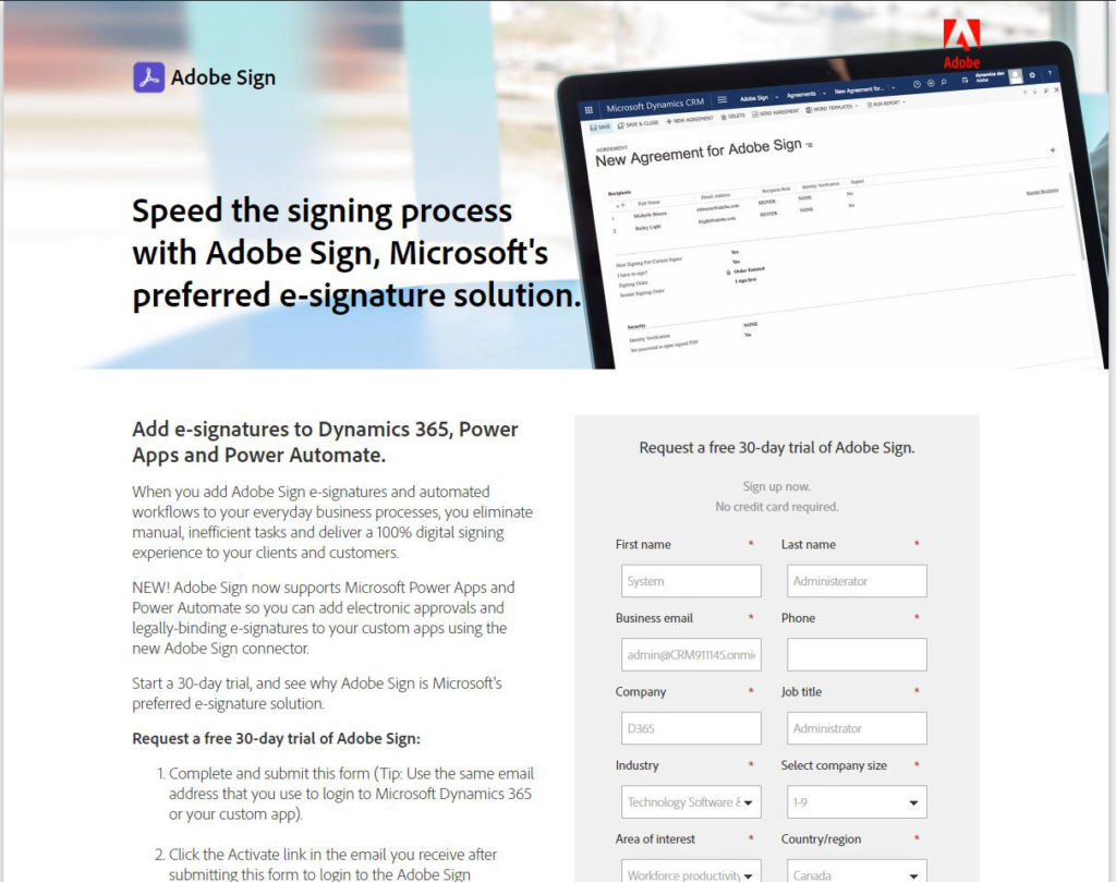Request a free 30 days trial of Adobe Sign