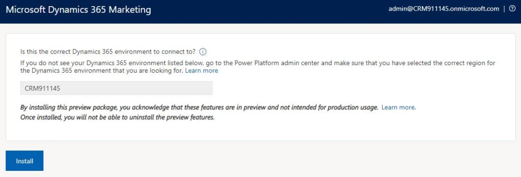 Enable Dynamics 365 Marketing preview features