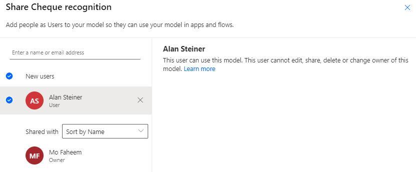 Share custom AI Builder