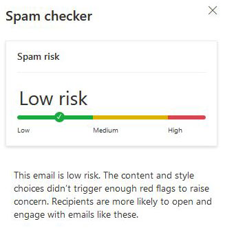 email spam checker low risk
