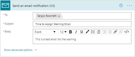 Send an email notification (V3) configure