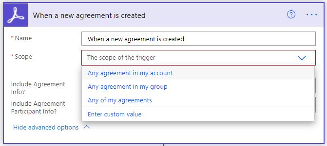 When a new agreement is created