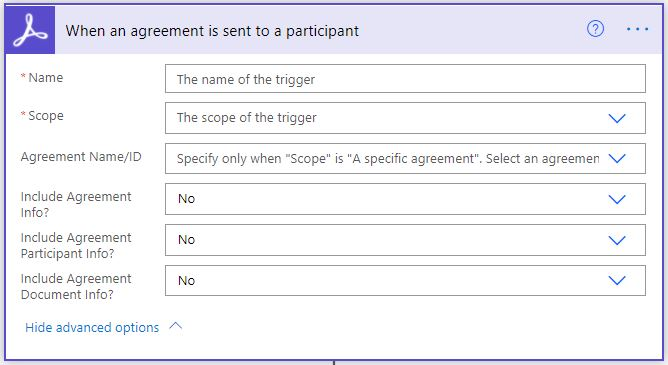 When an agreement is sent to a participant