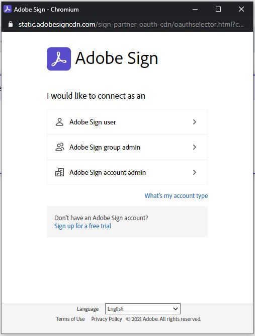Sign in Adobe account