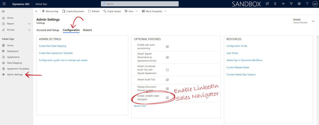 Enable Adobe Sign and LinkedIn Sales Navigator