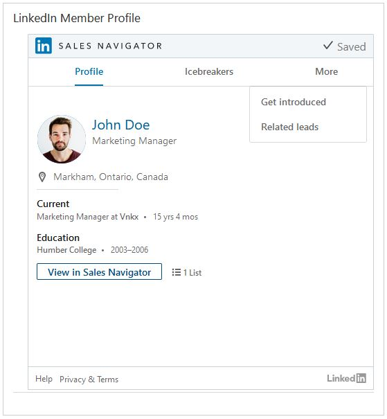 LinkedIn Member widget