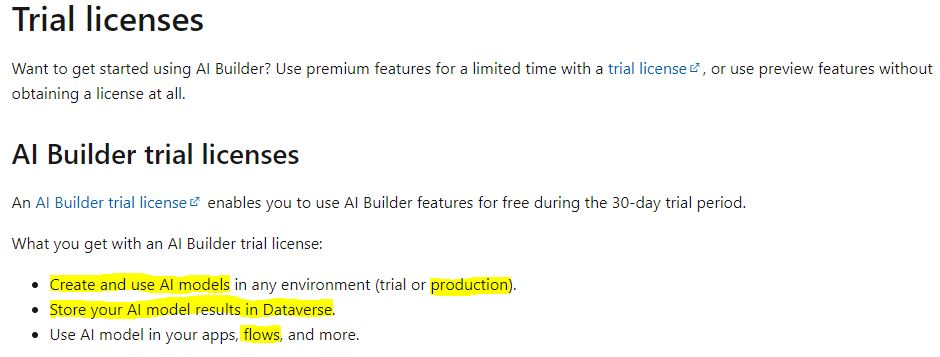 AI Builder Trail for production use