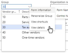 User defined drop list